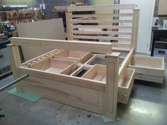 wooden bed frame with storage underneath